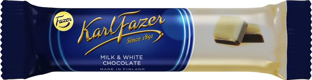 Karl Fazer батончик из белого шоколада с молочным шоколадом, 38 г