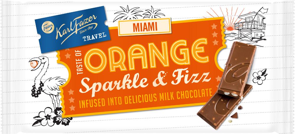 Karl Fazer Travel Miami молочный шоколад с лопающейся карамелью с апельсиновым вкусом, 130 г5894Karl Fazer Travel Miami молочный шоколад с лопающейся карамелью с апельсиновым вкусом, 130 г