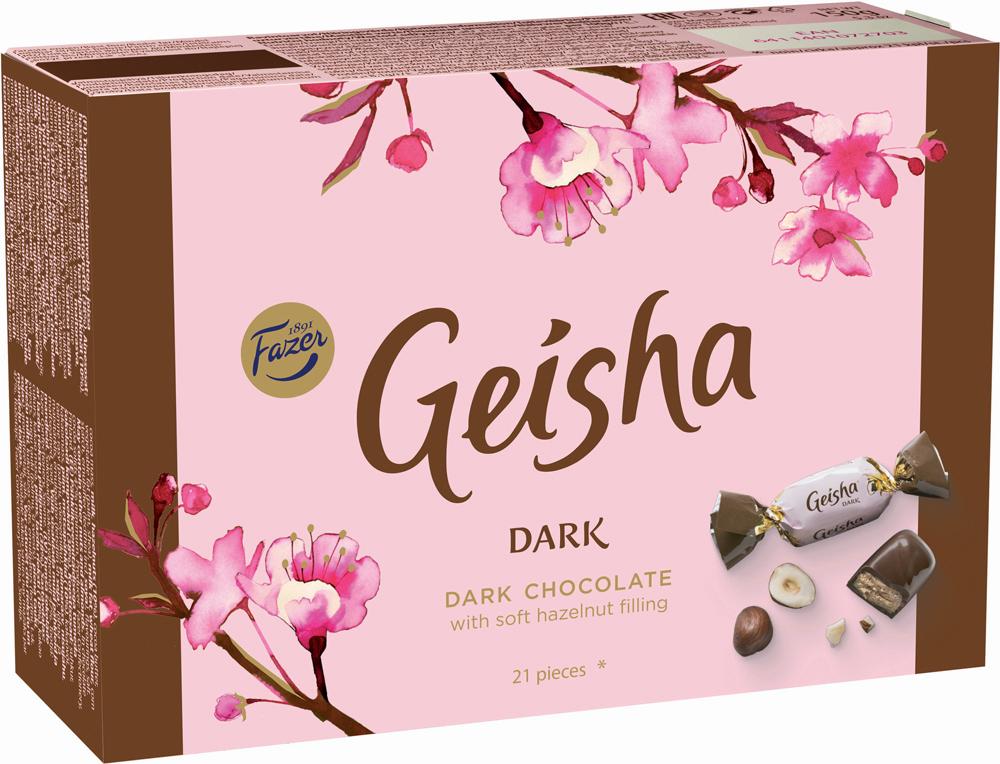 Fazer Geisha Dark Конфеты из темного шоколада с начинкой из орехового пралине из фундука, 150 г ritter sport мята шоколад темный с мятной начинкой 100 г