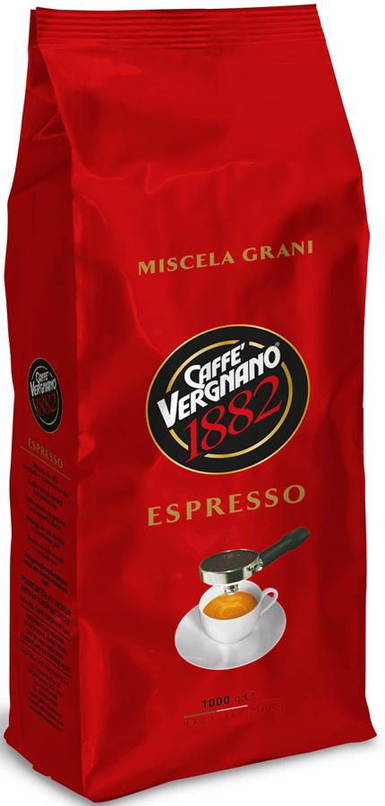 Vergnano espresso кофе в зернах, 1 кг8001800000131Сбалансированная смесь Арабики и Робусты характеризуется сладостью и фруктовыми нотками с насыщенной консистенцией вкуса и манящей пенкой.