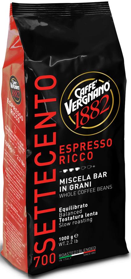 Vergnano espresso ricco 700 кофе в зернах, 1 кг8001800000537Интенсивная смесь с устойчивой пенкой и богатой консистенцией. Лучшие сорта бразильской Арабики влажной обработки и индийской Робусты придают напитку лёгкую горчинку.