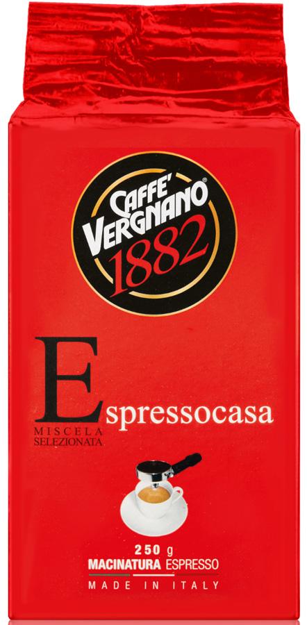 Vergnano Espresso casa кофе молотый, 250 г8001800001664Насыщенный вкус и интенсивный аромат напитка с густой пенкой привлекает тех ценителей, которые ценят более крепкий кофе с оттенками шоколада.