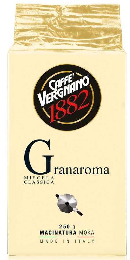Vergnano Gran aroma кофе молотый, 250 г8001800001961Смесь лучшей Арабики и Робусты характеризуется богатым и насыщенным ароматом.