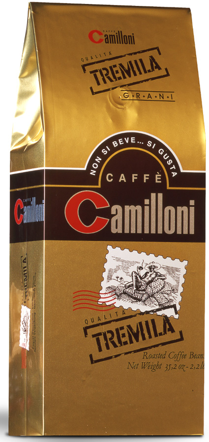 Camilloni Tremila кофе в зернах, 1 кг8009785101218Натуральный кофе Camilloni Tremila обладает притягательным ароматом и особым вкусом с легкой кислинкой. Смесь кофе состоит из наилучших сортов арабики (95%) и робусты (5%), темной итальянской обжарки.