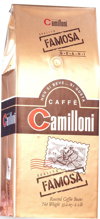 Camilloni Famosa кофе в зернах, 1 кг8009785104318Натуральный кофе Camilloni Famosa — это сбалансированный напиток с легким утонченным ароматов и крепким вкусом, способный сделать Ваше утро незабываемым. Состав: арабика (75%), робуста (25%).