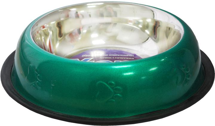 Миска для животных Уют, цвет: зеленый, 710 млАМРц071Миска прочная и долговечная, походит как для корма так и для воды. Не скользит. Легко чистится и моется любым бытовым моющим средством под струей проточной воды. Украшена рисунком, нескользящая.