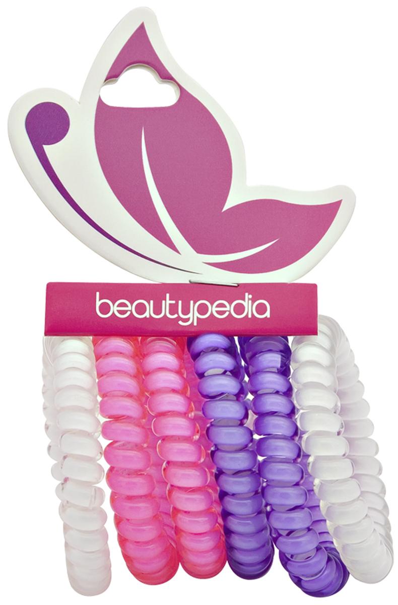 Beautypedia Набор резинок для волос, цвет: фиолетовый, розовый, белый, 6 шт6900888200100Яркие и модные резинки Beautypedia, благодаря своей форме не перетягивает волосы и не оставляет на них заломов, что очень важно для здоровья волос. Пружинка легко снимается с волос, так как поверхность ее идеально гладкая, а значит не выдергивает и не ломает волосы. Эта стильная резинка отлично держит волосы собранные в хвост или пучок, при этом не перетягивая и не вызывая дискомфорта. Резинка позволяет самостоятельно сделать множество различных причесок на любой случай, от обычного хвостика до красивых вечерних укладок. Продукт износостойкий и долговечный. Резинки сделаны из экологически чистых материалов.