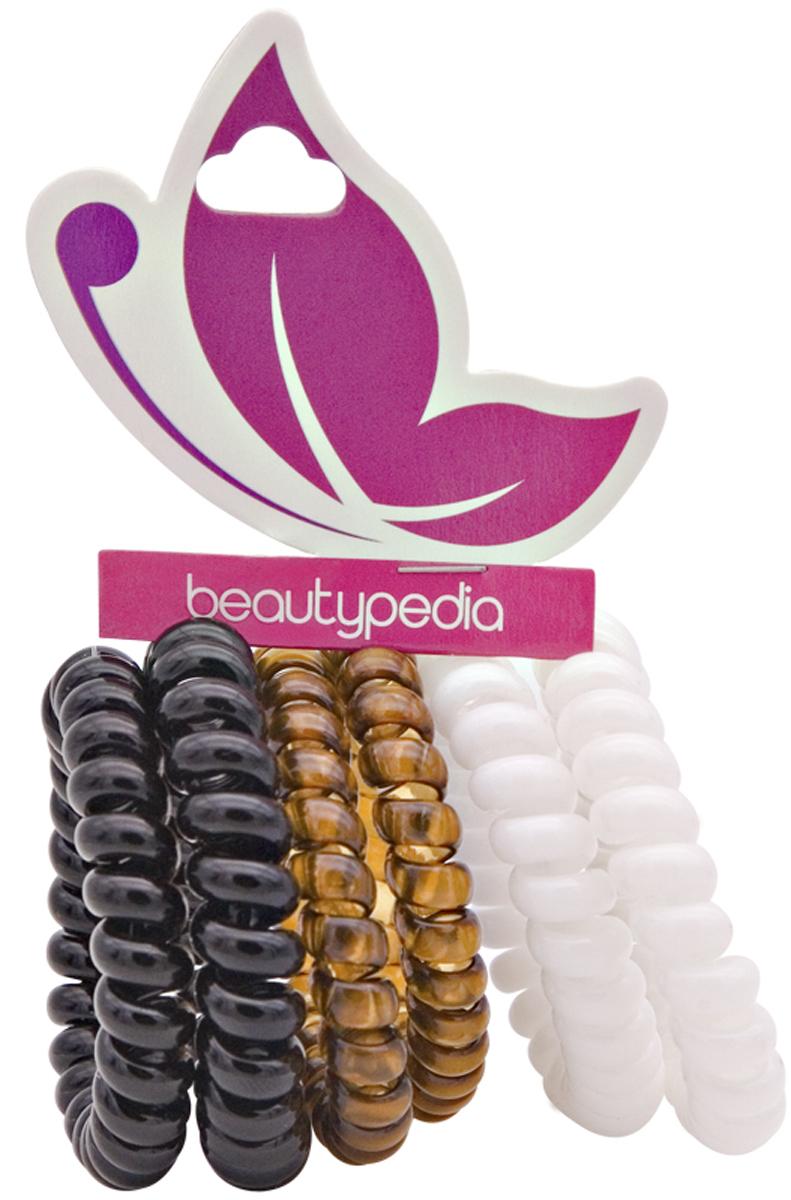 Beautypedia Набор резинок для волос, цвет: черный, коричневый, белый, 6 шт6900888200131Яркие и модные резинки Beautypedia, благодаря своей форме не перетягивает волосы и не оставляет на них заломов, что очень важно для здоровья волос. Пружинка легко снимается с волос, так как поверхность ее идеально гладкая, а значит не выдергивает и не ломает волосы. Эта стильная резинка отлично держит волосы собранные в хвост или пучок, при этом не перетягивая и не вызывая дискомфорта. Резинка позволяет самостоятельно сделать множество различных причесок на любой случай, от обычного хвостика до красивых вечерних укладок. Продукт износостойкий и долговечный. Резинки сделаны из экологически чистых материалов.