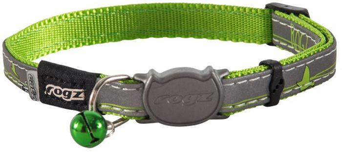 Ошейник для кошек Rogz  NightCat , цвет: зеленый, ширина 11 мм. Размер S - Товары для прогулки и дрессировки (амуниция)