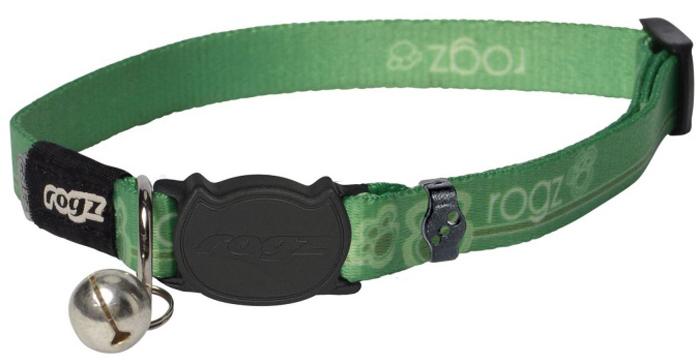 Ошейник для кошек Rogz KiddyCat, цвет: зеленый, ширина 8 мм. Размер XSCB207LБезопасная, легко раскрывающаяся застежка не повредит шёрстку кошки.Специально разработанный замок легко расстегивается при натяжении, если это необходимо. Например, если ваш питомец застрял на дереве или на заборе.Ошейник обладает уникальной системой, присущей только продукции Rogz для кошек, позволяющей регулировать степень легкости раскрытия замка при различных нагрузках на замок (в зависимости от размера, веса и степени активности животного).