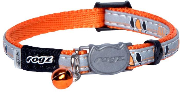 Ошейник для кошек Rogz NightCat, цвет: оранжевый, ширина 8 мм. Размер XSCB208DОшейник обладает уникальной системой, присущей только продукции Rogz для кошек, позволяющей регулировать степень легкости раскрытия замка при различных нагрузках на замок (в зависимости от размера, веса и степени активности животного).Специально разработанный замок легко расстегивается при натяжении, если это необходимо. Например, если ваш питомец застрял на дереве или на заборе.Использованные в изделиях светоотражающие материалы обеспечивают хорошую видимость животного в темное время суток, а значит - его безопасность.