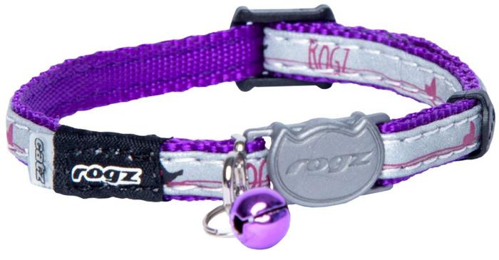 Ошейник для кошек Rogz NightCat, цвет: фиолетовый, ширина 8 мм. Размер XSCB208EОшейник обладает уникальной системой, присущей только продукции Rogz для кошек, позволяющей регулировать степень легкости раскрытия замка при различных нагрузках на замок (в зависимости от размера, веса и степени активности животного).Специально разработанный замок легко расстегивается при натяжении, если это необходимо. Например, если ваш питомец застрял на дереве или на заборе.Использованные в изделиях светоотражающие материалы обеспечивают хорошую видимость животного в темное время суток, а значит - его безопасность.