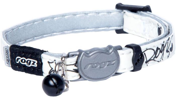 Ошейник для кошек Rogz GlowCat, цвет: белый, ширина 8 мм. Размер XS. CB209ACB209AБезопасная, легко раскрывающаяся застежка не повредит шёрстку кошки.Специально разработанный замок легко расстегивается при натяжении, если это необходимо. Например, если ваш питомец застрял на дереве или на заборе.Ошейник обладает уникальной системой, присущей только продукции Rogz для кошек, позволяющей регулировать степень легкости раскрытия замка при различных нагрузках на замок (в зависимости от размера, веса и степени активности животного).Использованные в изделиях светоотражающие материалы обеспечивают хорошую видимость животного в темное время суток, а значит - его безопасность.