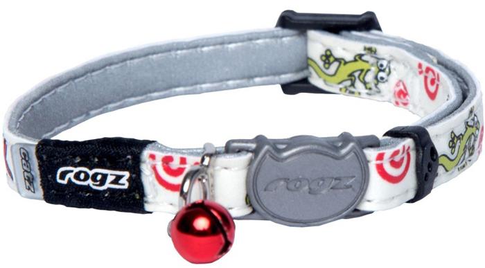 Ошейник для кошек Rogz GlowCat, цвет: белый, ширина 8 мм. Размер XS. CB209ECB209EБезопасная, легко раскрывающаяся застежка не повредит шёрстку кошки.Специально разработанный замок легко расстегивается при натяжении, если это необходимо. Например, если ваш питомец застрял на дереве или на заборе.Ошейник обладает уникальной системой, присущей только продукции Rogz для кошек, позволяющей регулировать степень легкости раскрытия замка при различных нагрузках на замок (в зависимости от размера, веса и степени активности животного).Использованные в изделиях светоотражающие материалы обеспечивают хорошую видимость животного в темное время суток, а значит - его безопасность.