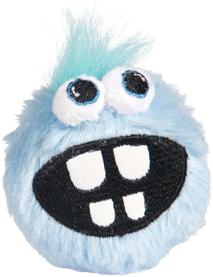 Мяч для собак Rogz Fluffy Grinz. Зубы, цвет: голубой, диаметр 6,4 см игрушки для животных zoobaloo игрушка для кошки бамбук плюшевый мяч на резинке 60см