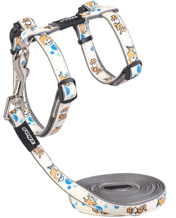 Комплект для кошек Rogz  GlowCat : шлейка, поводок, цвет: белый. Размер S. CLJ09G - Товары для прогулки и дрессировки (амуниция)