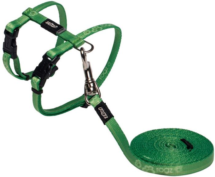 Комплект для кошек Rogz  KiddyCat : шлейка, поводок, цвет: зеленый. Размер XS - Товары для прогулки и дрессировки (амуниция)