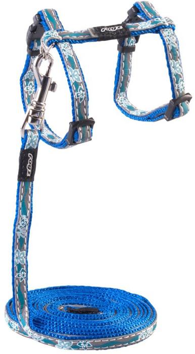 Комплект для кошек Rogz NightCat: шлейка, поводок, цвет: голубой. Размер XSCLJ208BБезопасная, легко раскрывающаяся застежка не повредит шёрстку кошки.Специально разработанный замок легко расстегивается при натяжении, если это необходимо. Например, если ваш питомец застрял на дереве или на заборе.Уникальная система, присущая только продукции Rogz для кошек, позволяет регулировать степень легкости раскрытия замка при различных нагрузках на замок (в зависимости от размера, веса и степени активности животного).Использованные в изделиях светоотражающие материалы обеспечивают хорошую видимость животного в темное время суток, а значит - его безопасность.