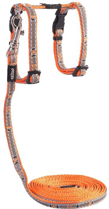 Комплект для кошек Rogz  NightCat : шлейка, поводок, цвет: оранжевый. Размер XS - Товары для прогулки и дрессировки (амуниция)