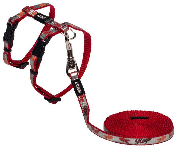 Комплект для кошек Rogz  ReflectoCat : шлейка, поводок, цвет: красный. Размер XS - Товары для прогулки и дрессировки (амуниция)