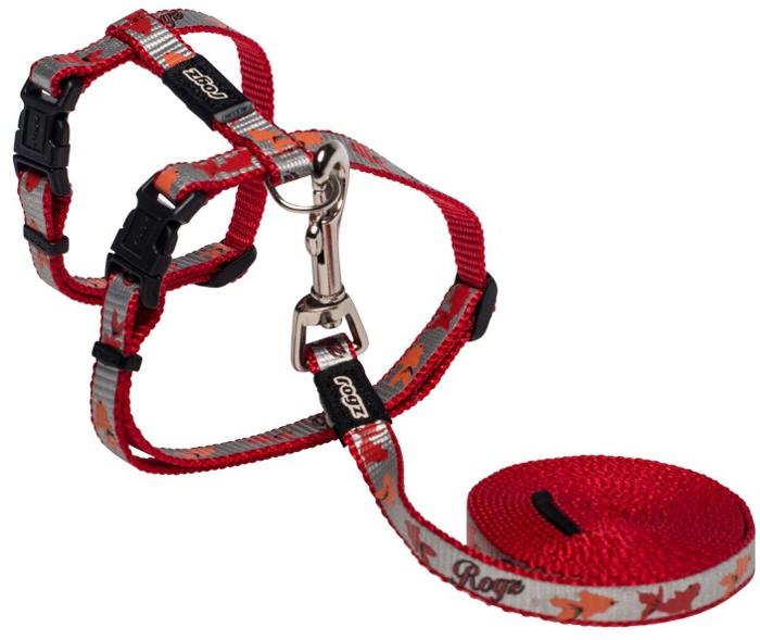 Комплект для кошек Rogz ReflectoCat: шлейка, поводок, цвет: красный. Размер SCLJ40CБезопасная, легко раскрывающаяся застежка не повредит шёрстку кошки.Специально разработанный замок легко расстегивается при натяжении, если это необходимо. Например, если ваш питомец застрял на дереве или на заборе.Уникальная система, присущая только продукции Rogz для кошек, позволяет регулировать степень легкости раскрытия замка при различных нагрузках на замок (в зависимости от размера, веса и степени активности животного).Использованные в изделиях светоотражающие материалы обеспечивают хорошую видимость животного в темное время суток, а значит - его безопасность.