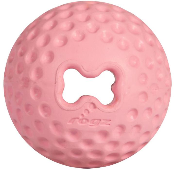 Мяч для собак Rogz Gumz, с отверстием для лакомства, цвет: розовый, диаметр 4,9 смGU201XИгрушка тренирует жевательные мышцы и массирует десны собаке. Отлично подходит для дрессировки, так как есть отверстие для лакомства.Отлично подпрыгивает при играх.Занимательная игрушка выдерживает долгое жевание и разгрызание.Материал изделия: 85 % натуральной резины, 15 % синтетической резины. Не токсичен.