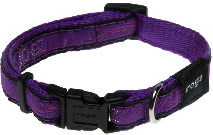 Ошейник для собак Rogz Fancy Dress, цвет: фиолетовый, ширина 1,1 см. Размер SHB01BJОшейник для собак Rogzвыполнен из нейлона высокой прочности. Особое плетение полотна способствует увеличению уровня прочности и защиты. Специальная конструкция пряжки Rog Loc - очень крепкая (система Fort Knox). Замок может быть расстегнут только рукой человека. Технология распределения нагрузки позволяет снизить нагрузку на пряжки, изготовленные из титанового пластика, с помощью правильного и разумного расположения грузовых колец.