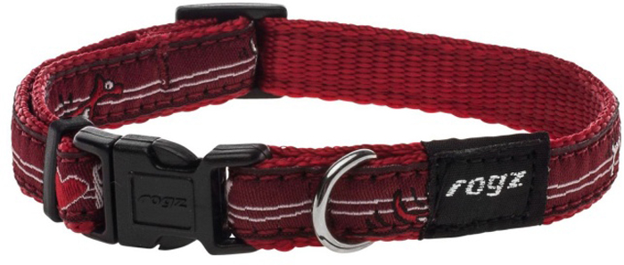 Ошейник для собак Rogz Fancy Dress, цвет: красный, ширина 1,1 см. Размер SHB01BTНеобычный дизайн. Широкая гамма потрясающе красивых орнаментов на прочной тесьме поверх нейлоновой ленты украсит Вашего питомца. Специальная конструкция пряжки Rog Loc - очень крепкая(система Fort Knox). Замок может быть расстегнут только рукой человека. Технология распределения нагрузки позволяет снизить нагрузку на пряжки, изготовленные из титанового пластика, с помощью правильного и разумного расположения грузовых колец.Особые контурные пластиковые компоненты. Специальная округлая форма конструкции позволяет ошейнику комфортно облегать шею собаки.Литое кольцо. Выполненые по заказу литые кольца имеют хромирование, нанесенное гальваническим способом, что позволяет избежать коррозии и потускнения изделия.