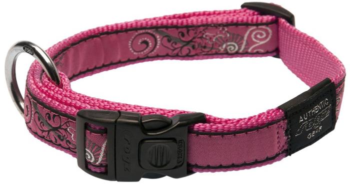 Ошейник для собак Rogz Fancy Dress, цвет: розовый, ширина 2 см. Размер LHB03BNОшейник для собак Rogz выполнен из нейлона высокой прочности. Особое плетение полотна способствует увеличению уровня прочности и защиты. Специальная конструкция пряжки Rog Loc - очень крепкая (система Fort Knox). Замок может быть расстегнут только рукой человека. Технология распределения нагрузки позволяет снизить нагрузку на пряжки, изготовленные из титанового пластика, с помощью правильного и разумного расположения грузовых колец.