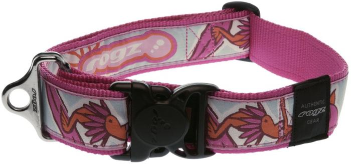 Ошейник для собак Rogz Fancy Dress, цвет: розовый, ширина 4 см. Размер XXLHB04KОшейник для собак Rogz выполнен из нейлона высокой прочности. Особое плетение полотна способствует увеличению уровня прочности и защиты. Специальная конструкция пряжки Rog Loc - очень крепкая (система Fort Knox). Замок может быть расстегнут только рукой человека. Технология распределения нагрузки позволяет снизить нагрузку на пряжки, изготовленные из титанового пластика, с помощью правильного и разумного расположения грузовых колец.