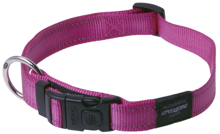 Ошейник для собак Rogz Utility, цвет: розовый, ширина 2,5 см. Размер XLHB05KОшейник для собак Rogz выполнен из нейлона высокой прочности. Особое плетение полотна способствует увеличению уровня прочности и защиты. Специальная конструкция пряжки Rog Loc - очень крепкая (система Fort Knox). Замок может быть расстегнут только рукой человека.Светоотражающая нить, вплетенная в нейлоновую ленту - для обеспечения лучшей видимости собаки в темное время суток.Технология распределения нагрузки позволяет снизить нагрузку на пряжки, изготовленные из титанового пластика, с помощью правильного и разумного расположения грузовых колец.Особые контурные пластиковые компоненты. Специальная округлая форма конструкции позволяет ошейнику комфортно облегать шею собаки.Выполненные специально по заказу ROGZ литые кольца гальванически хромированы, что позволяет избежать коррозии и потускнения изделия.