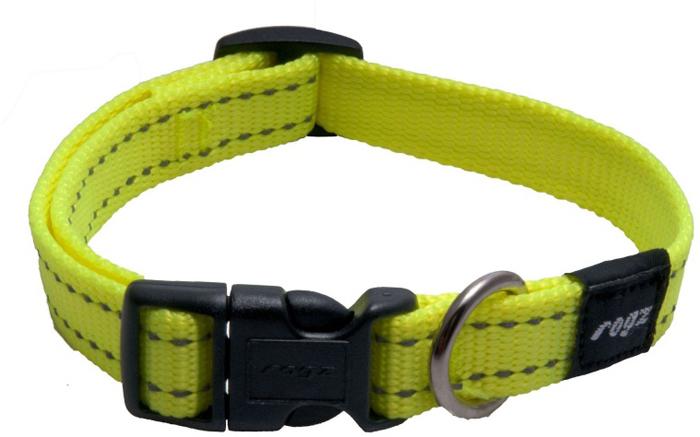 Ошейник для собак Rogz Utility, цвет: желтый, ширина 1,6 см. Размер MHB11HОшейник для собак Rogzвыполнен из нейлона высокой прочности. Особое плетение полотна способствует увеличению уровня прочности и защиты. Специальная конструкция пряжки Rog Loc - очень крепкая (система Fort Knox). Замок может быть расстегнут только рукой человека.Светоотражающая нить, вплетенная в нейлоновую ленту - для обеспечения лучшей видимости собаки в темное время суток.Технология распределения нагрузки позволяет снизить нагрузку на пряжки, изготовленные из титанового пластика, с помощью правильного и разумного расположения грузовых колец.Особые контурные пластиковые компоненты. Специальная округлая форма конструкции позволяет ошейнику комфортно облегать шею собаки.Выполненные специально по заказу ROGZ литые кольца гальванически хромированы, что позволяет избежать коррозии и потускнения изделия.