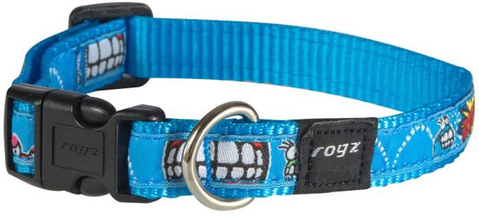 Ошейник для собак Rogz Fancy Dress, цвет: голубой, ширина 1,6 см. Размер MHB12BXОшейник для собак Rogz выполнен из нейлона высокой прочности. Особое плетение полотна способствует увеличению уровня прочности и защиты. Специальная конструкция пряжки Rog Loc - очень крепкая (система Fort Knox). Замок может быть расстегнут только рукой человека. Технология распределения нагрузки позволяет снизить нагрузку на пряжки, изготовленные из титанового пластика, с помощью правильного и разумного расположения грузовых колец.