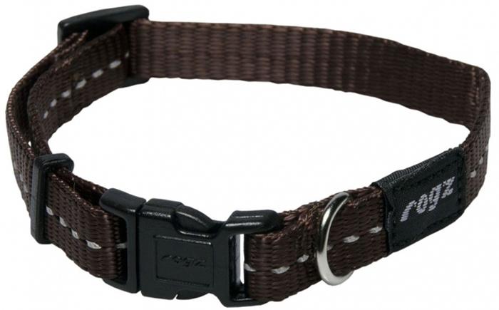 Ошейник для собак Rogz Utility, цвет: коричневый, ширина 1,1 см. Размер SHB14JОшейник для собак Rogz выполнен из нейлона высокой прочности. Особое плетение полотна способствует увеличению уровня прочности и защиты. Специальная конструкция пряжки Rog Loc - очень крепкая (система Fort Knox). Замок может быть расстегнут только рукой человека.Светоотражающая нить, вплетенная в нейлоновую ленту - для обеспечения лучшей видимости собаки в темное время суток.Технология распределения нагрузки позволяет снизить нагрузку на пряжки, изготовленные из титанового пластика, с помощью правильного и разумного расположения грузовых колец.Особые контурные пластиковые компоненты. Специальная округлая форма конструкции позволяет ошейнику комфортно облегать шею собаки.Выполненные специально по заказу ROGZ литые кольца гальванически хромированы, что позволяет избежать коррозии и потускнения изделия.