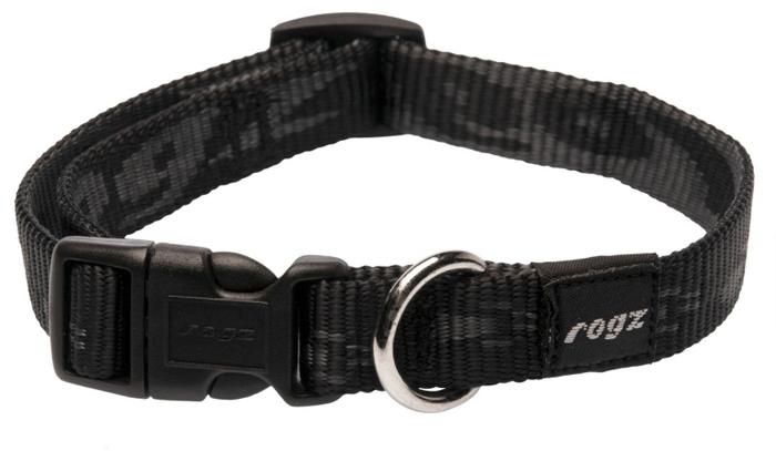 Ошейник для собак Rogz Alpinist, цвет: черный, ширина 1,6 см. Размер MHB23AОшейник для собак Rogz выполнен из нейлона высокой прочности. Особое плетение полотна способствует увеличению уровня прочности и защиты. Специальная конструкция пряжки Rog Loc - очень крепкая (система Fort Knox). Замок может быть расстегнут только рукой человека. Технология распределения нагрузки позволяет снизить нагрузку на пряжки, изготовленные из титанового пластика, с помощью правильного и разумного расположения грузовых колец.