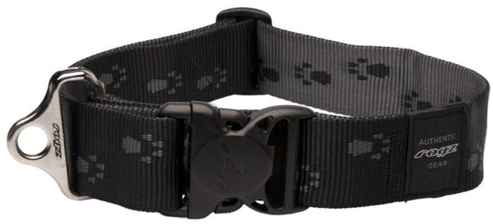 Ошейник для собак Rogz Alpinist, цвет: черный, ширина 4 см. Размер XXLHB29AОшейник для собак Rogz выполнен из нейлона высокой прочности. Особое плетение полотна способствует увеличению уровня прочности и защиты. Специальная конструкция пряжки Rog Loc - очень крепкая (система Fort Knox). Замок может быть расстегнут только рукой человека. Технология распределения нагрузки позволяет снизить нагрузку на пряжки, изготовленные из титанового пластика, с помощью правильного и разумного расположения грузовых колец.