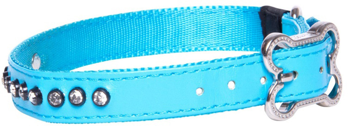 Ошейник для собак Rogz Luna , цвет: голубой, ширина 1,6 см. Размер MHB503BНежнейшая мягкость и гибкость.Авторский дизайн, яркие цвета, изысканные декоративные элементы.Ошейник подчеркнет индивидуальность Вашей собаки.Материалы: 100% полиэстер, PU кожа (на основе полиуретана),металл, пластик, стразы.