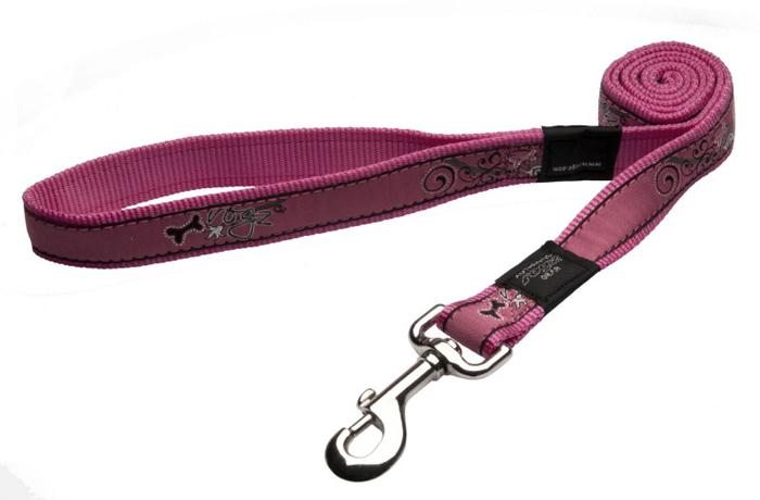 Поводок для собак Rogz Fancy Dress, цвет: розовый, ширина 2,5 см. Размер XLHL02BNНеобычный дизайн. Широкая гамма потрясающе красивых орнаментов на прочной тесьме поверх нейлоновой ленты украсит Вашего питомца.Необыкновенно крепкий и прочный поводок.Выполненные по заказу литые кольца выдерживают значительные физические нагрузки и имеют хромирование, нанесенное гальваническим способом, что позволяет избежать коррозии и потускнения изделия.