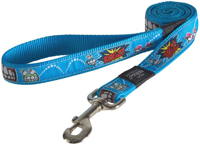 Поводок для собак Rogz Fancy Dress, цвет: голубой, ширина 2,5 см. Размер XLHL02BXНеобычный дизайн. Широкая гамма потрясающе красивых орнаментов на прочной тесьме поверх нейлоновой ленты украсит вашего питомца.Необыкновенно крепкий и прочный поводок.Выполненные по заказу литые кольца выдерживают значительные физические нагрузки и имеют хромирование, нанесенное гальваническим способом, что позволяет избежать коррозии и потускнения изделия.
