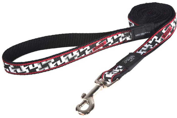 Поводок для собак Rogz Fancy Dress, цвет: черный, белый, ширина 2 см. Размер LHL03BVНеобычный дизайн. Широкая гамма потрясающе красивых орнаментов на прочной тесьме поверх нейлоновой ленты украсит Вашего питомца.Необыкновенно крепкий и прочный поводок.Выполненные по заказу литые кольца выдерживают значительные физические нагрузки и имеют хромирование, нанесенное гальваническим способом, что позволяет избежать коррозии и потускнения изделия.