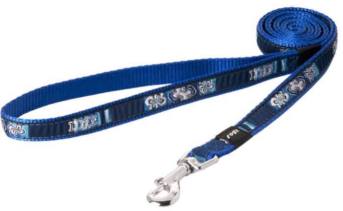 Поводок для собак Rogz Fancy Dress, цвет: синий, ширина 1,6 см. Размер MHL12BPНеобычный дизайн. Широкая гамма потрясающе красивых орнаментов на прочной тесьме поверх нейлоновой ленты украсит вашего питомца.Необыкновенно крепкий и прочный поводок.Выполненные по заказу литые кольца выдерживают значительные физические нагрузки и имеют хромирование, нанесенное гальваническим способом, что позволяет избежать коррозии и потускнения изделия.