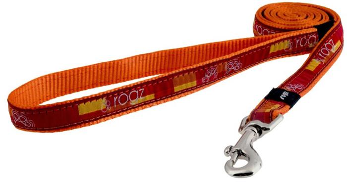 Поводок для собак Rogz Fancy Dress, цвет: оранжевый, ширина 1,6 см. Размер MHL12BQНеобычный дизайн. Широкая гамма потрясающе красивых орнаментов на прочной тесьме поверх нейлоновой ленты украсит вашего питомца.Необыкновенно крепкий и прочный поводок.Выполненные по заказу литые кольца выдерживают значительные физические нагрузки и имеют хромирование, нанесенное гальваническим способом, что позволяет избежать коррозии и потускнения изделия.