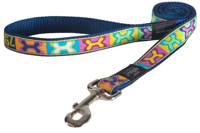Поводок для собак Rogz Fancy Dress, удлиненный, цвет: мультиколор, ширина 2,5 см. Размер XLHLL02BWНеобычный дизайн. Широкая гамма потрясающе красивых орнаментов на прочной тесьме поверх нейлоновой ленты украсит вашего питомца.Необыкновенно крепкий и прочный поводок.Выполненные по заказу литые кольца выдерживают значительные физические нагрузки и имеют хромирование, нанесенное гальваническим способом, что позволяет избежать коррозии и потускнения изделия.