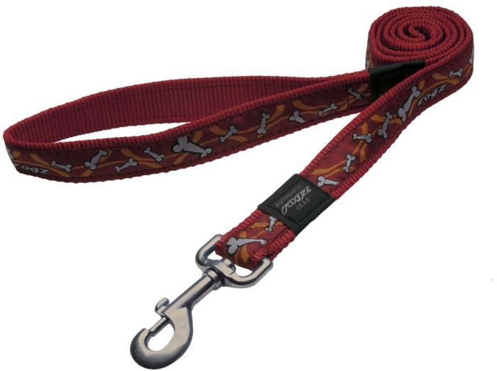 Поводок для собак Rogz Fancy Dress, удлиненный, цвет: красный, ширина 2,5 см. Размер XL. HLL02XHLL02XНеобычный дизайн. Широкая гамма потрясающе красивых орнаментов на прочной тесьме поверх нейлоновой ленты украсит вашего питомца.Необыкновенно крепкий и прочный поводок.Выполненные по заказу литые кольца выдерживают значительные физические нагрузки и имеют хромирование, нанесенное гальваническим способом, что позволяет избежать коррозии и потускнения изделия.
