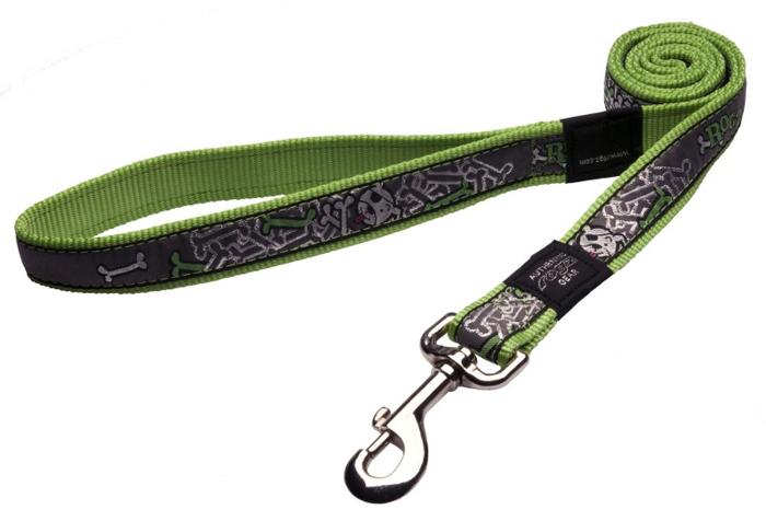 Поводок для собак Rogz Fancy Dress, удлиненный, цвет: зеленый, ширина 2 см. Размер LHLL03BLНеобычный дизайн. Широкая гамма потрясающе красивых орнаментов на прочной тесьме поверх нейлоновой ленты украсит Вашего питомца.Необыкновенно крепкий и прочный поводок.Выполненные по заказу литые кольца выдерживают значительные физические нагрузки и имеют хромирование, нанесенное гальваническим способом, что позволяет избежать коррозии и потускнения изделия.
