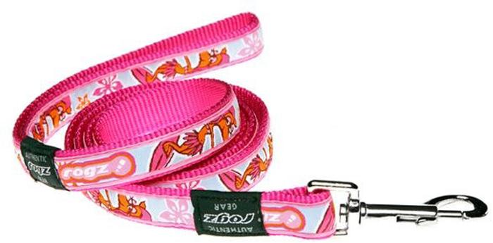 Поводок для собак Rogz Fancy Dress, удлиненный, цвет: розовый, ширина 2 см. Размер L. HLL03K rogz адресник на ошейник для собак rogz fancy dress синий l 34 мм
