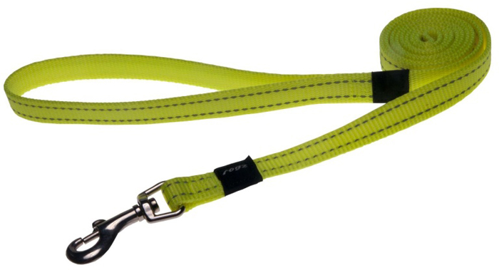 Поводок для собак Rogz Utility , удлиненный, цвет: желтый, ширина 1,6 см. Размер M нaконечники литые нa свaи