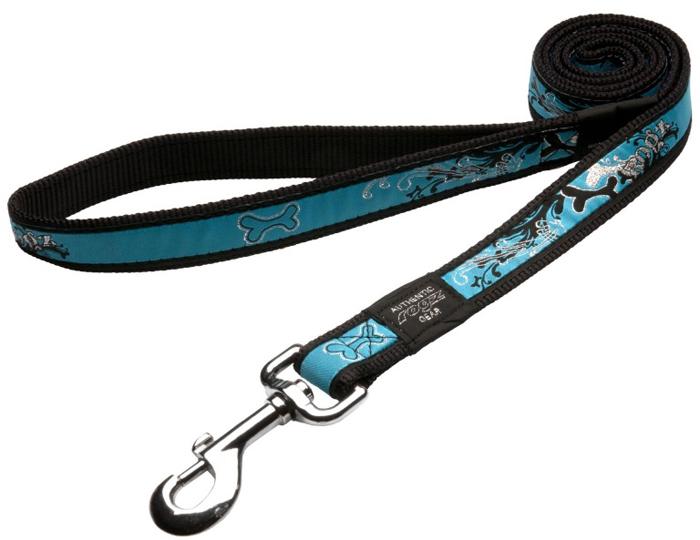 Поводок для собак Rogz Fancy Dress, удлиненный, цвет: синий, ширина 1,6 см. Размер L. HLL12BKHLL12BKНеобычный дизайн. Широкая гамма потрясающе красивых орнаментов на прочной тесьме поверх нейлоновой ленты украсит Вашего питомца.Необыкновенно крепкий и прочный поводок.Выполненные по заказу литые кольца выдерживают значительные физические нагрузки и имеют хромирование, нанесенное гальваническим способом, что позволяет избежать коррозии и потускнения изделия.