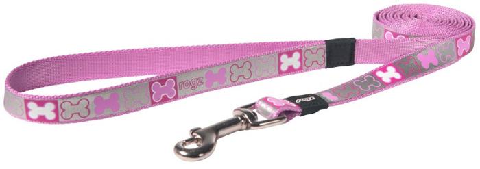 Поводок для собак Rogz Reflecto, цвет: розовый, ширина 1,6 см. Размер M поводок для собак rogz utility цвет желтый ширина 1 1 см размер s