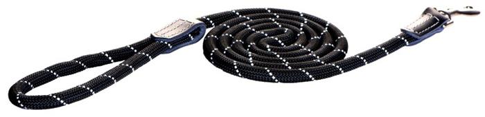 Поводок для собак Rogz Rope , удлиненный, цвет: черный, ширина 9 мм. Размер MHLLR09AИзделие выполнено из очень мягкого, но прочного нейлона, который не причинит неудобства собаке. Высококачественная тесьма особого плетения, удивительно мягкая на ощупь, не стирает и не путает шерсть даже длинношерстным собакам. Особо прочный закругленный нейлон препятствует разгрызанию и деформации изделий. Выполненные по заказу литые кольца выдерживают значительные физические нагрузки и имеют хромирование, нанесенное гальваническим способом, что позволяет избежать коррозии и потускнения изделия.Светоотражающая нить, вплетенная в нейлоновую ленту, обеспечивает видимость животного в темное время суток.Элементы изделия выполнены из 100% кожи.